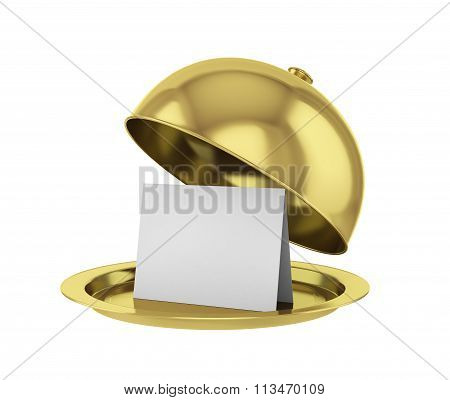 Gold Restaurant Cloche With Paper Template On White Background.