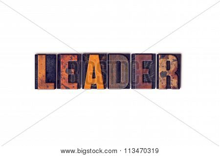 Leader Concept Isolated Letterpress Type