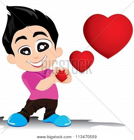 Valentine's Day and Boyfriend Love Confess isolated on white background. Vector Valentine's Day Back