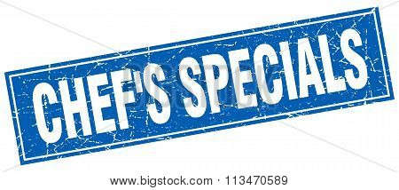 Chef's Specials Blue Square Grunge Stamp On White