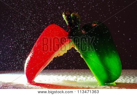 green and red capsicums