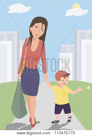 tired mother walking with her baby son