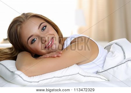 Young Beautiful Blonde Smiling Woman Portrait Wake Up Early Morning
