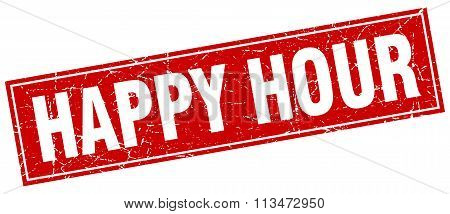 Happy Hour Red Square Grunge Stamp On White