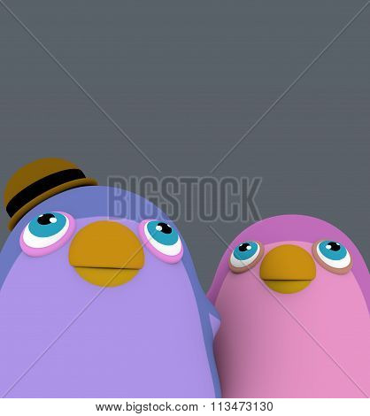 Two Funny Cartoon Penguin Bird Over Gray Background