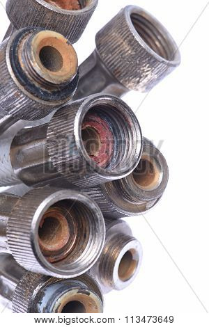 Plumbing hose pipes isolated on white background