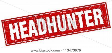 Headhunter Red Square Grunge Stamp On White
