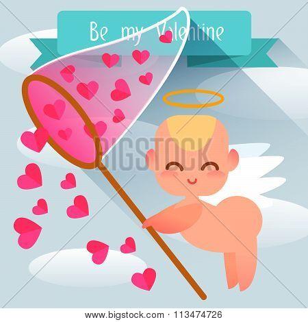 Happy Valentine's Day. Cute angel style flat. Flat illustration