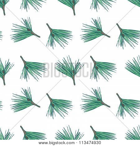 Pine fir christmas tree cedar spruce and cones seamless pattern vector illustration. Seamless patter