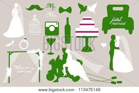 Set of wedding invitation vintage design elements. Bride and groom with some wedding different objec