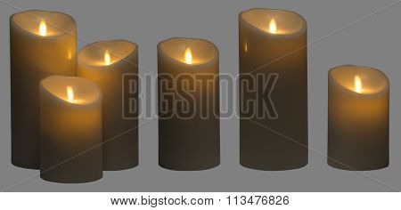 Candle Light, Three Wax Candles Lighting Isolated Gray Background