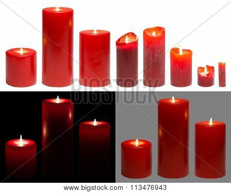 Candles Light, Set Of Red Candles Lights, White Black Background