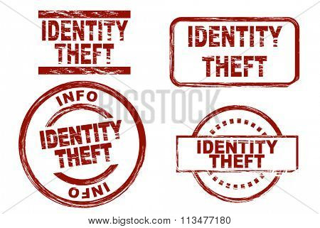 Set of stylized ink stamps showing the term identity theft.