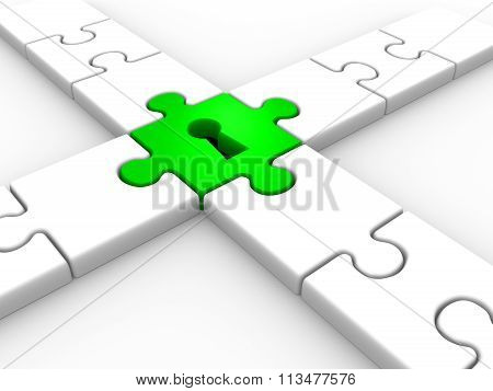 3d render Puzzle with keyhole. 3d render