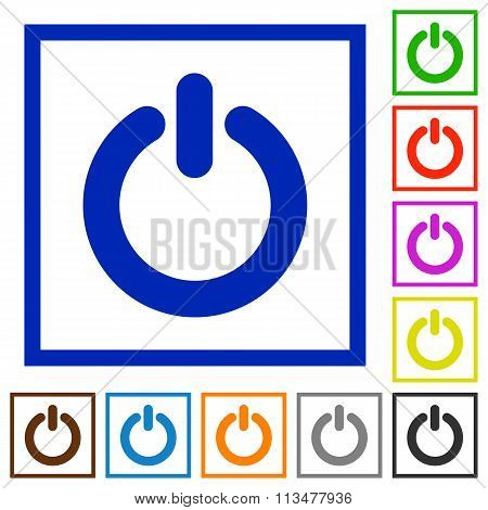 Power Switch Framed Flat Icons