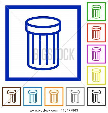 Trash Framed Flat Icons