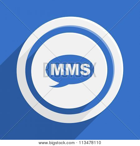 mms blue flat design modern vector icon for web and mobile app