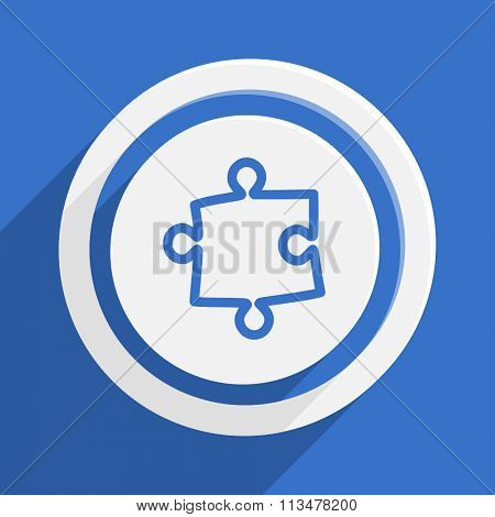 puzzle blue flat design modern vector icon for web and mobile app