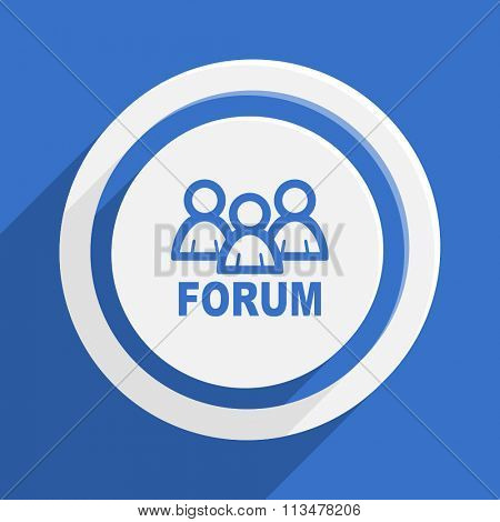 forum blue flat design modern vector icon for web and mobile app