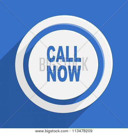 call now blue flat design modern vector icon for web and mobile app