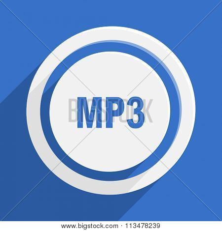 mp3 blue flat design modern vector icon for web and mobile app