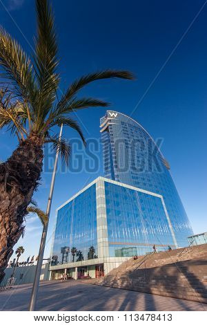 Barcelona, Spain - November 10, 2015: W Barcelona Hotel, Also Known As The Hotel Vela (sail Hotel) O