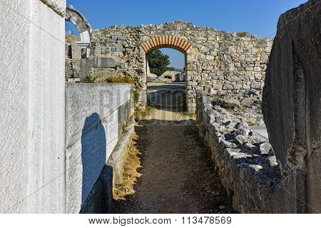 Entrance of Ancient amphitheater in the archeological area of Philippi, Eastern Macedonia and Thrace