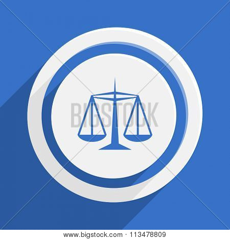 justice blue flat design modern vector icon for web and mobile app