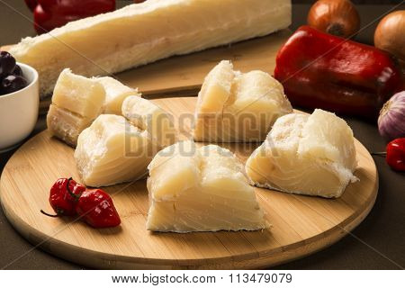 Salted Codfish On The Wooden Table With Ingredients