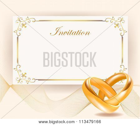 Wedding Invitation Width Golden Rings In Retro Style