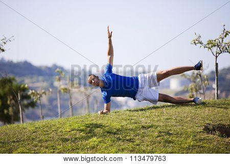 Young man exercising outdoor at Lisbon city