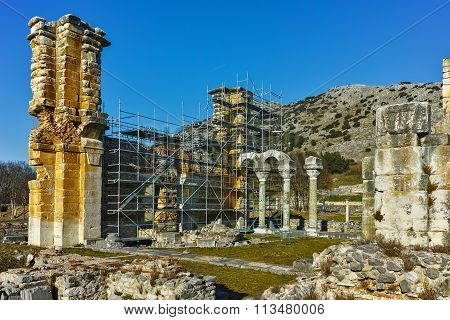 Basilica in the archeological area of ancient Philippi, Eastern Macedonia and Thrace