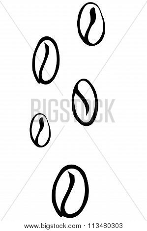 Vector Background Scattered Coffee Beans