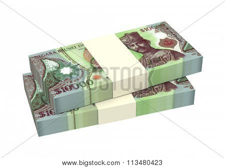 Brunei dollar bills isolated on white background. Computer generated 3D photo rendering.