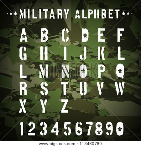 Military stencil alphabet on a camouflage background, vector illustration