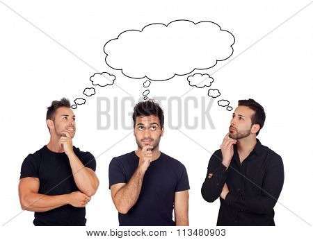 Three pensive men isolated on a white background