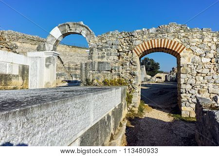 Ruins of Ancient amphitheater in the archeological area of Philippi
