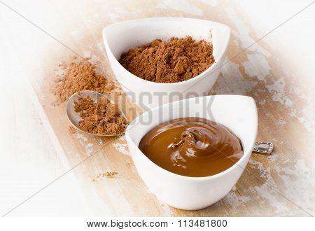 Bowl Of Sweet Chocolate Cream.