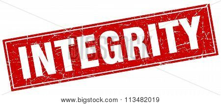 Integrity Red Square Grunge Stamp On White