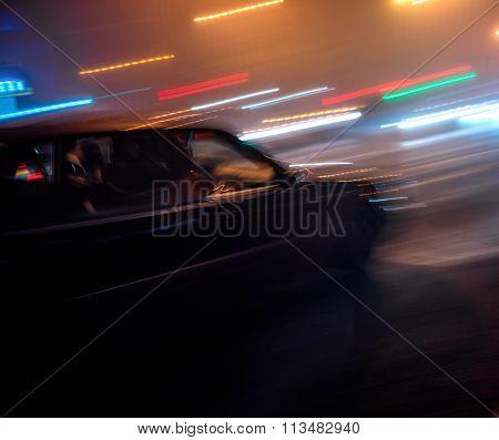 Car Moving At High Speed At Night