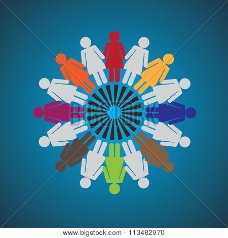 Vector Illustration of Women Holding Together