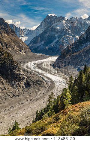 Mer De Glace Glacier-mont Blanc Massif,france