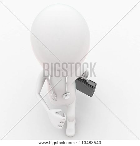 3D Man Running Holding Briefcase In Hands And Sthethoscope On Shoulder Concept