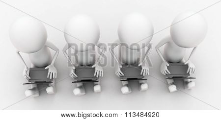 3D Group Of Men Using Laptop On His Lap Concept