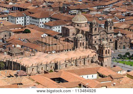 Aerial View Of The Main Square In Cusco, Peru