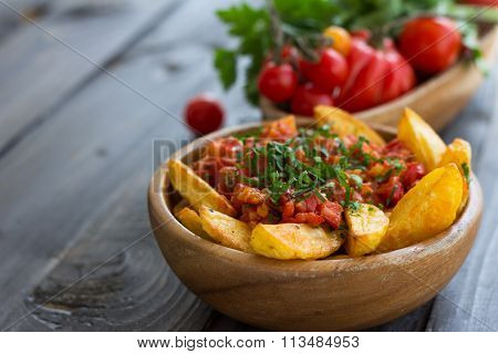 Patatas Bravas, Traditional Spanish Tapas, Baked Potatoes With Spicy Tomato Sauce