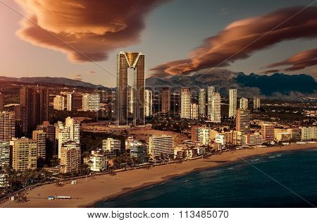Sunset Over Benidorm City