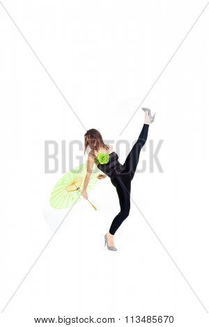 Dancer with umbrella over white background