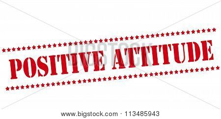 Rubber stamp with text positive attitude inside vector illustration