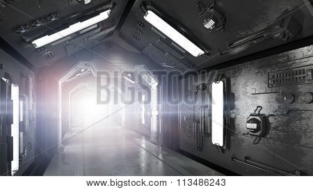Futuristic spaceship interior with bright light in the background (3D Rendering)